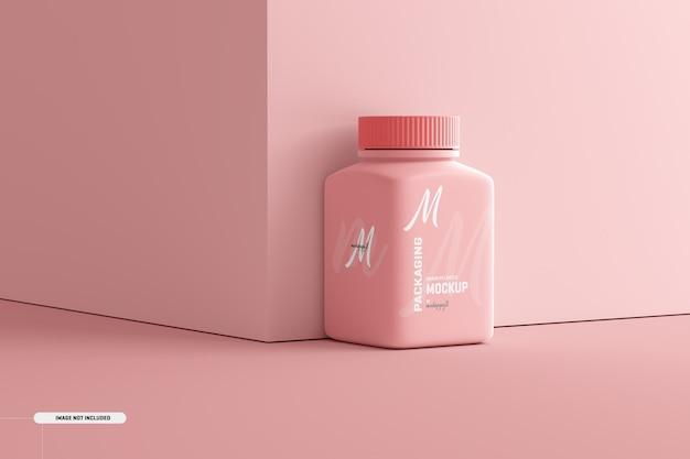 Makieta butelki z suplementem do tabletek o średnim kwadratowym kształcie
