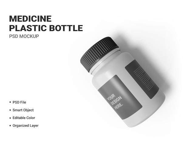 Makieta butelki z tworzywa sztucznego medycyny na białym tle