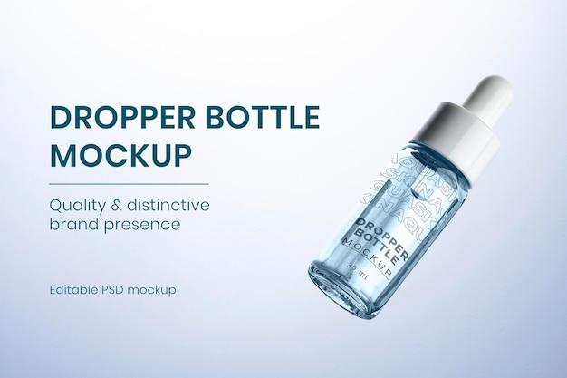 Makieta butelki z zakraplaczem psd gotowa do użycia do pielęgnacji urody i skóry