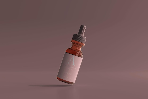 Makieta butelki z zakraplaczem ze szkła bursztynowego