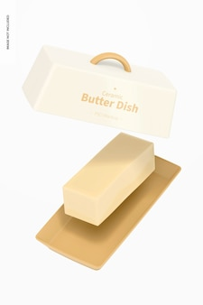 Makieta ceramicznego naczynia z masłem, spadająca