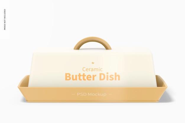 Makieta ceramicznego naczynia z masłem, widok z przodu