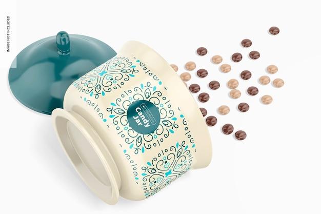 Makieta ceramicznego słoika na cukierki, upuszczona
