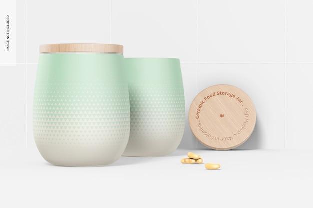 Makieta ceramicznych słoików do przechowywania żywności, widok z przodu