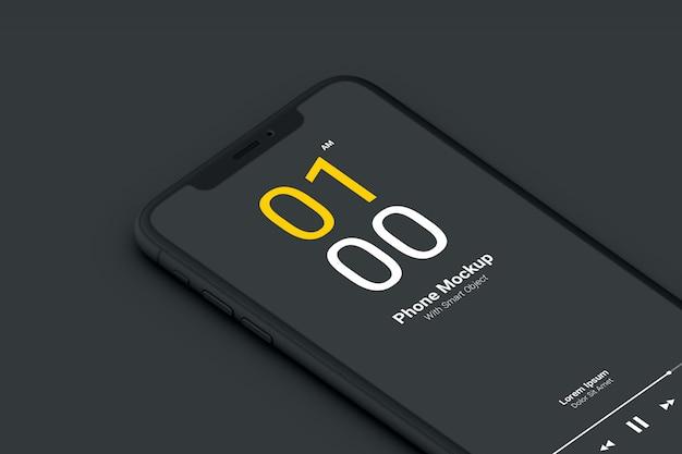 Makieta ciemnego telefonu z bliska