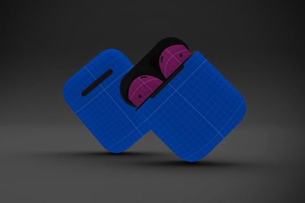 Makieta ciemnych słuchawek