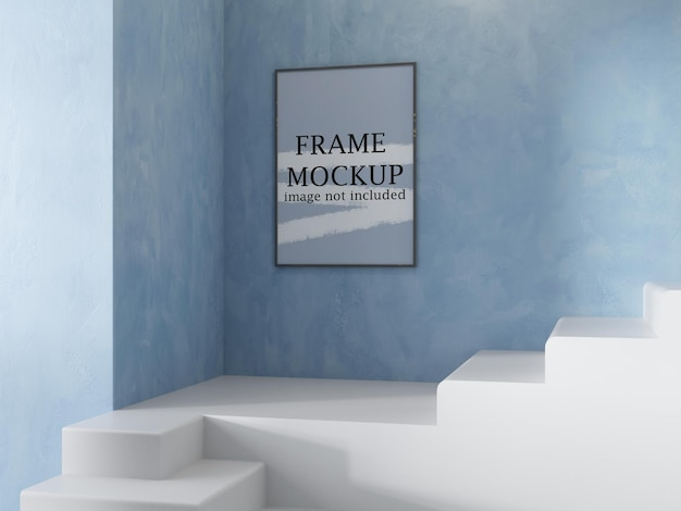 Makieta cienkiej ramki na niebieskiej ścianie