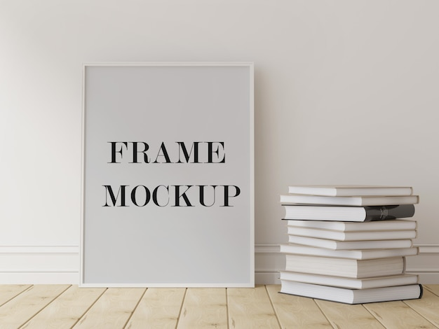 Makieta cienkiej ramki na zdjęcia obok książek