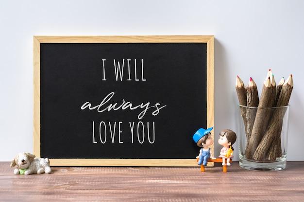 Makieta czarna tablica dla koncepcji lover.