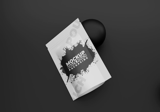 Makieta czarnego opakowania na przekąski
