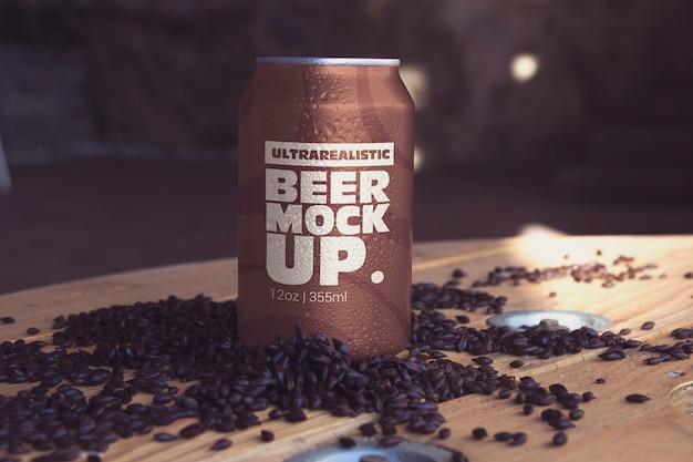 Makieta czarnego piwa z przodu