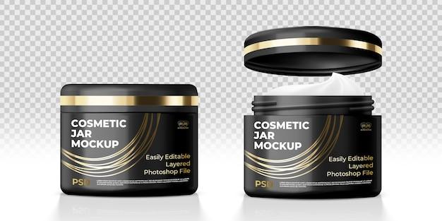 Makieta czarnego słoika kosmetycznego kremu