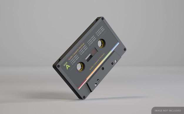 Makieta czarnej kasety magnetofonowej retro z etykietą