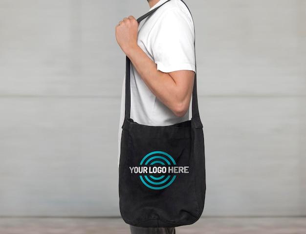 Makieta czarnej torby z grubej bawełny