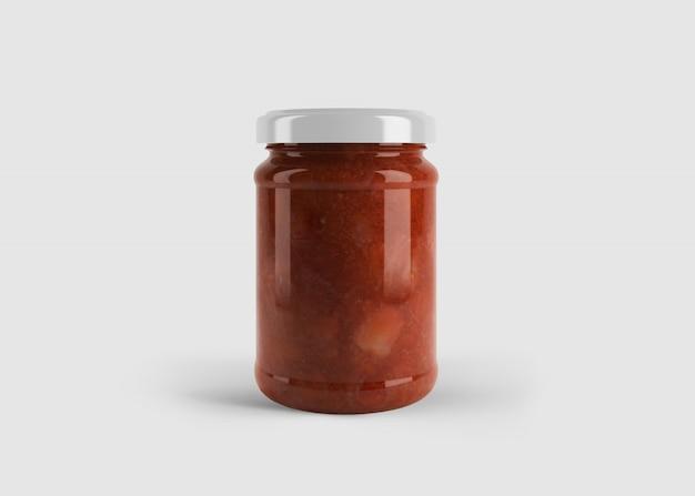 Makieta czerwonego dżemu lub słoika z sosem z niestandardową etykietą kształtu w czystej scenie studyjnej