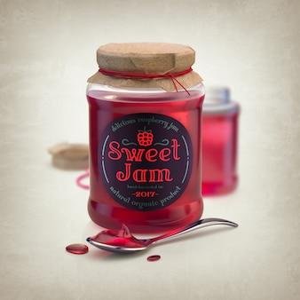 Makieta czerwonego słoika dżemu z łyżką i okrągłe etykiety