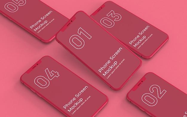 Makieta czerwony smartfon po lewej stronie