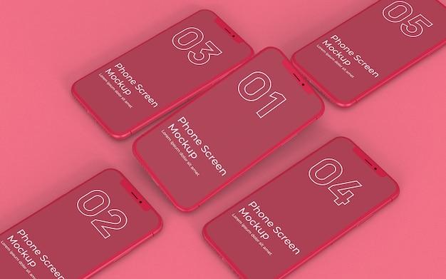 Makieta czerwony smartfon właściwy widok
