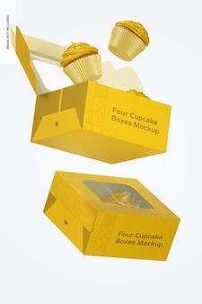 Makieta czterech pudełek babeczek, spadających