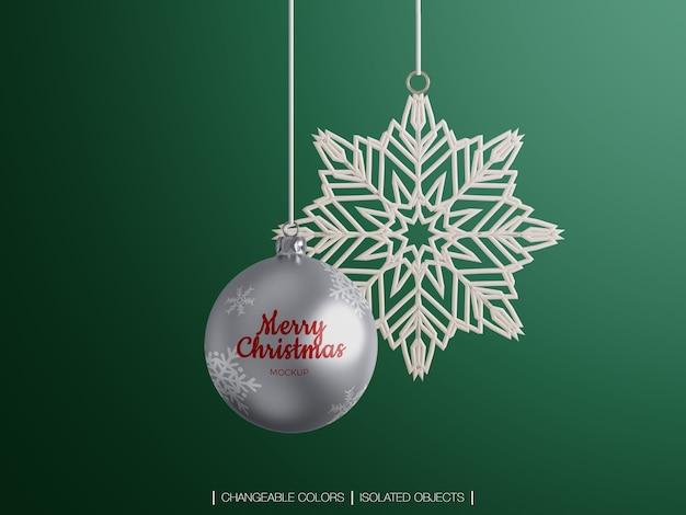 Makieta dekoracji christmas ball i śnieżynka na białym tle