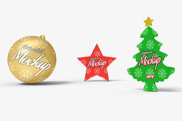 Makieta dekoracji świątecznych na białym tle