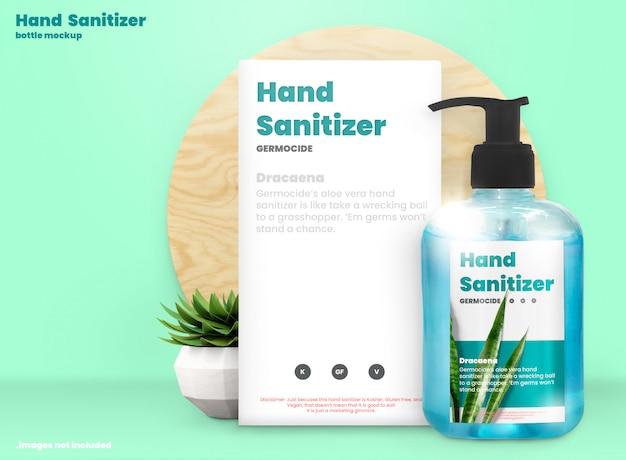 Makieta dezynfekcji rąk butelki z pompką żelową alkohol i pudełka produktu