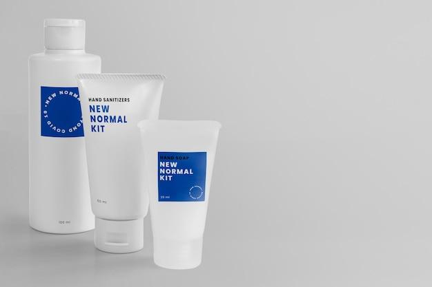 Makieta do dezynfekcji rąk psd nowy normalny zestaw produktów