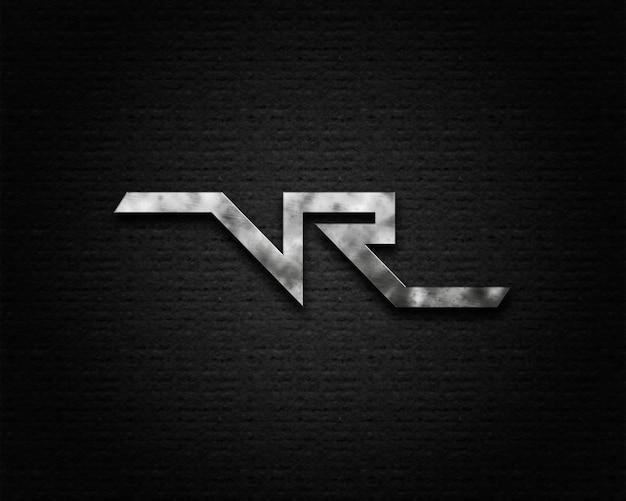 Makieta do nowoczesnego logo na czarnej fakturze