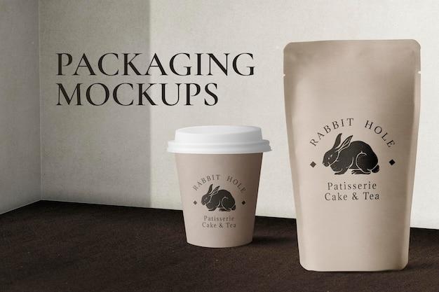 Makieta do pakowania żywności psd z papierowym kubkiem i torebką