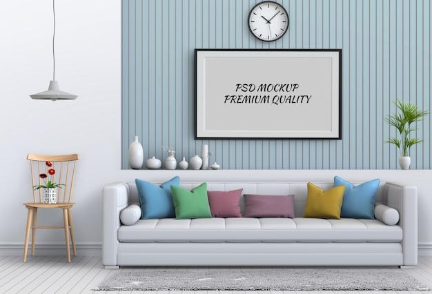 Makieta do ramki plakatowej w wewnętrznym salonie i sofie, renderowanie 3d