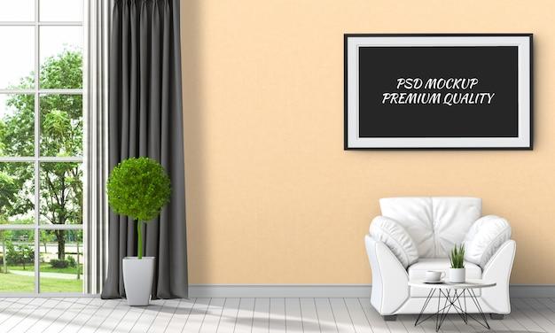 Makieta do ramki plakatowej w wewnętrznym salonie i sofie