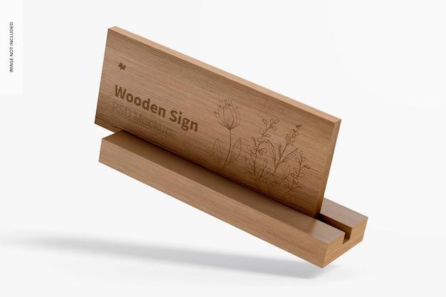 Makieta drewnianego znaku, spadająca