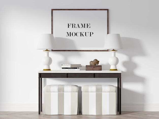 Makieta drewnianej ramki na zdjęcia nad stołem konsoli