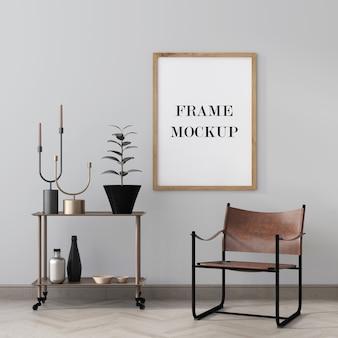 Makieta drewnianej ramki na zdjęcia w pokoju ozdobiona dodatkami do wnętrz