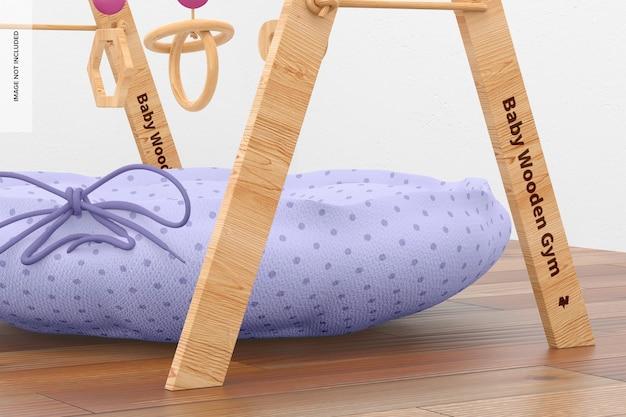 Makieta drewnianej siłowni dla dzieci, zbliżenie