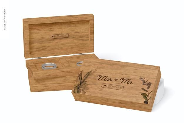Makieta drewnianych pudełek na pierścionki, ułożone w stos