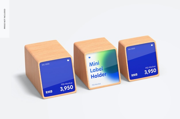 Makieta drewnianych uchwytów na etykiety cenowe mini, perspektywa