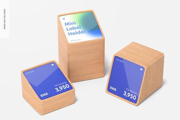 Makieta drewnianych uchwytów na etykiety cenowe mini, widok z przodu