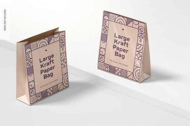 Makieta Dużych Toreb Papierowych Kraft Darmowe Psd