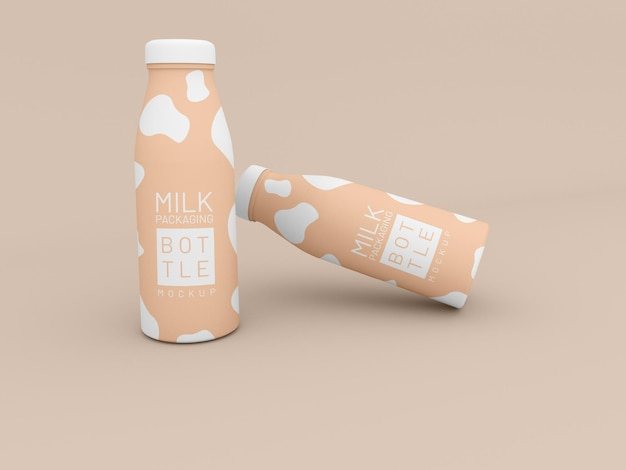 Makieta dwóch butelek mleka