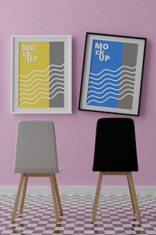 Makieta dwóch pionowych ramek, drewniana rama i krzesła na różowej ścianie