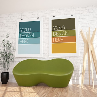 Makieta dwóch pionowych wiszących plakatów w nowoczesnym wnętrzu