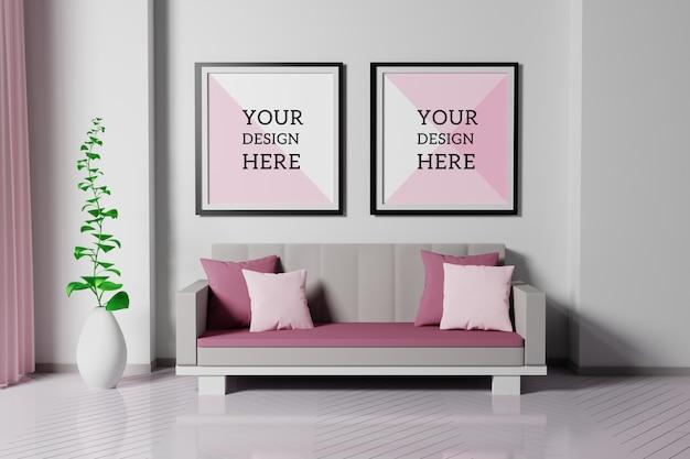 Makieta dwóch ramek do zdjęć w salonie z sofą