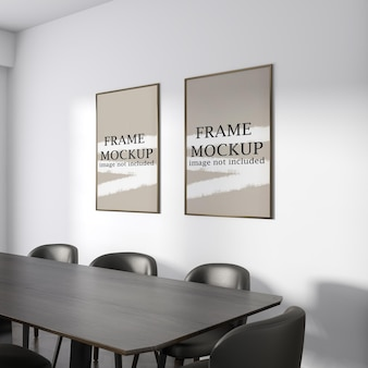 Makieta dwóch ramek plakatowych w nowoczesnym wnętrzu
