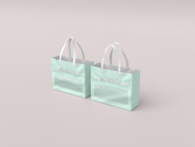 Makieta dwóch realistycznych toreb na zakupy