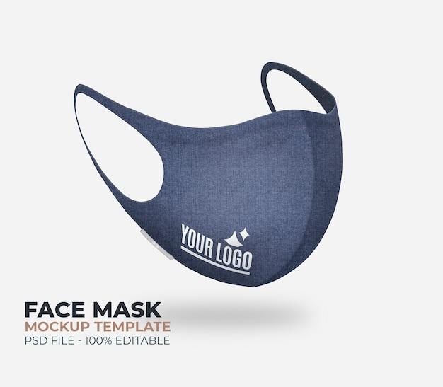 Makieta dżinsowej maski na twarz z logo