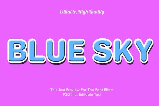 Makieta efekt czcionki błękitne niebo