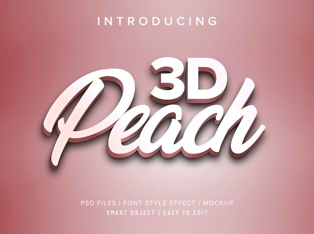 Makieta efektu stylu czcionki brzoskwiniowej 3d