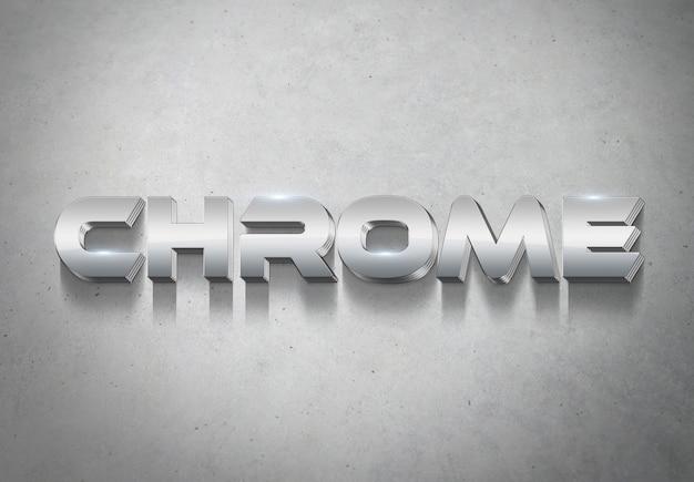 Makieta efektu stylu srebrnego tekstu 3d