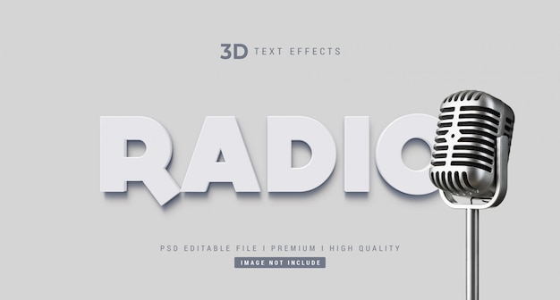Makieta efektu stylu tekstu radiowego 3d